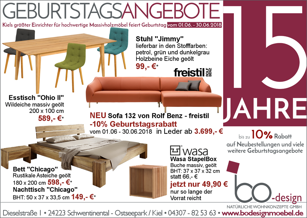 15 Jahre bo-design - bodesign Möbel – Qualität aus Kiel!