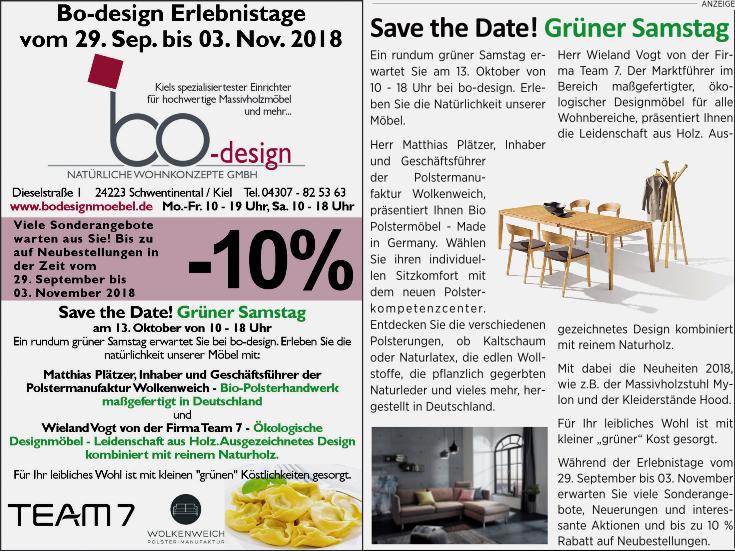 Bo-design Erlebnistage Save the Date