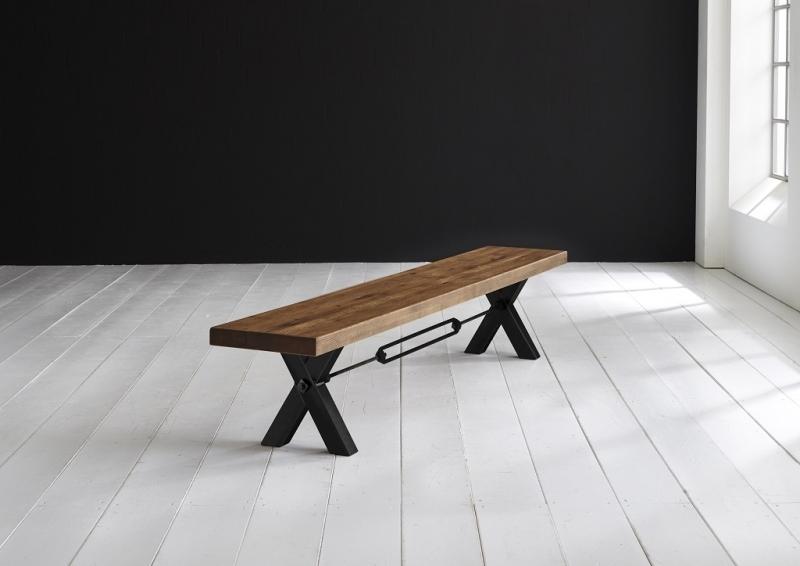 Tischplatte 6 cm, geteilt durch Metallstreifen, Oberfläche Old Bassano, gerade Kante