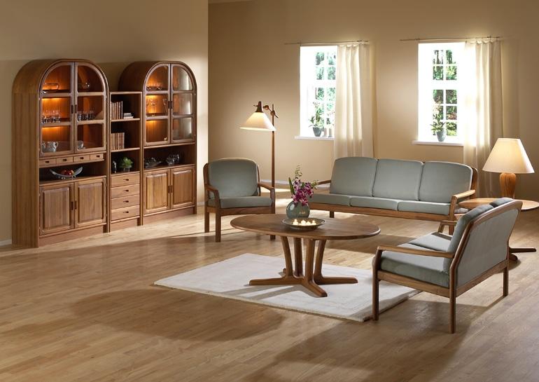Teakholz Wohnzimmer mit Rundbogenschränke